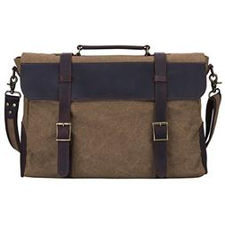 S ZONE Vintage Canvas Leather Messenger Traveling Briefcase